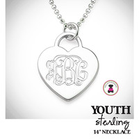 For the Young Girl / Flower Girl - Monogrammed HEART Necklace -Sterling  - FREE SHIP