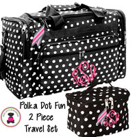Monogrammed 2 Piece Travel Set - Large Duffle & Essentials Travel Bag - Polka Dot Fun - FREE SHIP