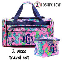 Monogrammed 2 Piece Travel Set - Large Duffle & Essentials Travel Bag - Lobster Love - FREE SHIP