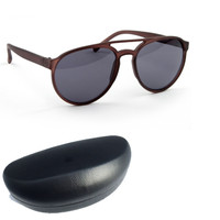 Designer Inspired Aviator Sunglasses with Hard Case  - Brown - FREE SHIP