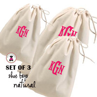 Monogrammed Set of 3 Shoe Bags for Travel  - Natural - FREE SHIP /Bridesmaid Gift /Bride Gift /Grad Gift/Gift for Her/Bridesmaid Proposal Gift