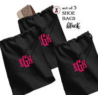 Monogrammed Set of 3 Shoe Bags for Travel  -  Black - FREE SHIP /Bridesmaid Gift /Bride Gift /Grad Gift/Gift for Her/Bridesmaid Proposal Gift