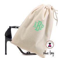 Monogrammed Shoe Bag for Travel  - Natural - FREE SHIP