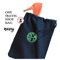Monogrammed Shoe Bag for Travel  - Navy - FREE SHIP