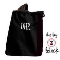 Monogrammed Shoe Bag for Travel  - Black - FREE SHIP