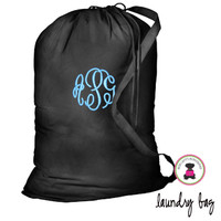 Monogrammed Large Cotton Drawstring Laundry Bag - Black - FREE SHIP