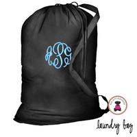 Monogrammed Large Cotton Drawstring Laundry Bag - Black - FREE SHIP