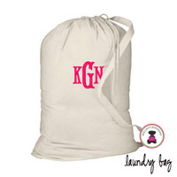 Monogrammed Large Cotton Drawstring Laundry Bag - Natural - FREE SHIP