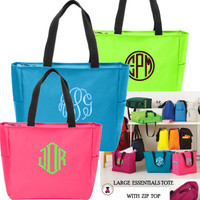 Monogrammed ZIP TOP ESSENTIAL TOTE - FREE SHIP