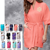 Monogrammed Ladies' Waffle Weave  Robe - FREE SHIP