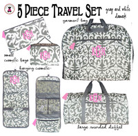 Monogrammed 5 Piece Travel Essentials Set - Damask - Gray / White-FREE SHIP/Bridal Gift/Gift for Her/Bridesmaid Gift/Grad Gift/Travel Set/GiftSet