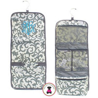 Monogrammed Hanging Cosmetic / Toiletry  Bag - Damask - Gray / White  - FREE SHIPPING