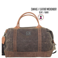 FOR HIM - Monogrammed WEEKENDER - Waxed Canvas Deluxe Weekender - Olive/Kakhi Trim - FREE SHIP