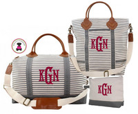 Monogrammed Canvas & Leather 3 Piece Travel Trio - Gray / White Stripe - FREE SHIP