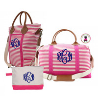 Monogrammed Canvas & Leather 3 Piece Travel Trio - Hot Pink / White Stripe - FREE SHIP