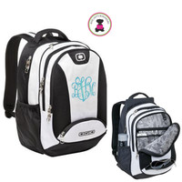 Monogrammed Deluxe Large OGIO Backpack -  White /Black / Silver - FREE SHIP