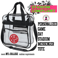 Personalized STADIUM COMPLIANT Messenger Tote  - FREE SHIP