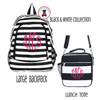 Monogrammed BACK TO SCHOOL SET - Large Backpack  & Lunch Tote - STRIPE- Black & White - FREE SHIP