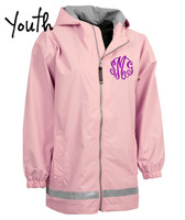 SIZE YOUTH LARGE- Monogrammed New Englander Rain Jacket - Wind & Waterproof - Light PInk - FREE SHIP