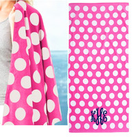 Monogrammed Velour Beach Towel - Hot Pink & White Polka Dots - FREE SHIP
