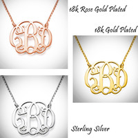 "CAROLINE Necklace - Monogrammed  Cut Out Sterling Necklace -  1"" Pendant - 3 Finish Options - FREE SHIP"