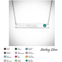 Sterling Silver Bar Necklace with Birthstone - FREE SHIP