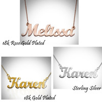 Name in Script Necklace - 3 Finish Choices  - FREE SHIP
