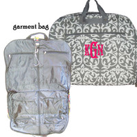 Monogrammed Canvas Garment Bag - FREE SHIP - Gray and White Damask- -FREE SHIP-Group Discount/Gift for Her/Bridesmaid Gift/Grad Gift/Cheer Gift / Dancer Gift
