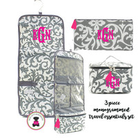 Monogrammed 3 Piece Travel Essentials Set - Gray/White Damask-FREE SHIP/ladies' Travel Set/Gift for Her/Bridesmaid Gift/Flower Girl Gift/Dancer Gift/Grad Gift