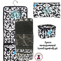Monogrammed 3 Piece Travel Essentials Set - Black / White Damask - FREE SHIP/ladies' Travel Set/Gift for Her/Bridesmaid Gift/Flower Girl Gift/Dancer Gift/Grad Gift
