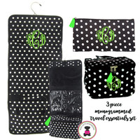 Monogrammed 3 Piece Travel Essentials Set - Black / White Polka Dot - FREE SHIPPING