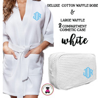 Monogrammed Ladies' Waffle Weave Robe & Deluxe Waffle Cosmetic Case - White - FREE SHIP