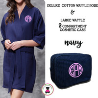 Monogrammed Ladies' Waffle Weave Robe & Deluxe Waffle Cosmetic Case - Navy - FREE SHIP