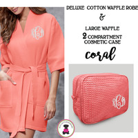 Monogrammed Ladies' Waffle Weave Robe & Deluxe Waffle Cosmetic Case - Coral - FREE SHIP