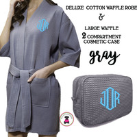 Monogrammed Ladies' Waffle Weave Robe & Deluxe Waffle Cosmetic Case - Gray - FREE SHIP