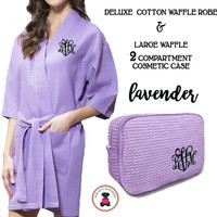 Monogrammed Ladies' Waffle Weave Robe & Deluxe Waffle Cosmetic Case - Lavender - FREE SHIP