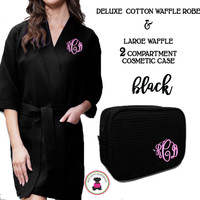 Monogrammed Ladies' Waffle Weave Robe & Deluxe Waffle Cosmetic Case - Black - FREE SHIP