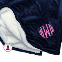 Monogrammed Minky Fleece Blanket with Sherpa  - FREE SHIP