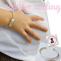 Sterling  Open Cuff Bracelet with Engraved Name for Toddler - FREE SHIP