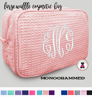 Monogrammed  Deluxe 2 Compartment Large Waffle Cosmetic Case - FREE SHIP