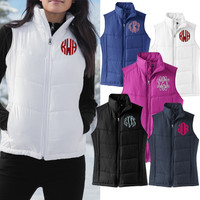 Monogrammed Ladies' Puffy Vest - FREE SHIP