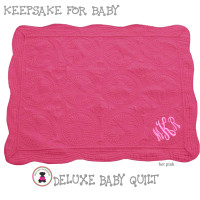 Monogrammed Baby  / Toddler Quilted Blanket -Hot Pink - FREE SHIP