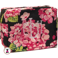 Monogrammed Large Cosmetic Case - FLOWER GARDEN- FREE SHIP