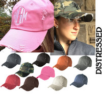 Monogrammed DISTRESSED FINISH Baseball Hat  - FREE SHIP