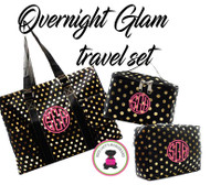 Monogrammed GLAM Overnight 3 Piece Set - Black with Gold Metallic Dots - FREE SHIP