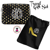 Monogrammed GLAM Travel 2 Piece Gift Set - Black with Gold Metallic Dots - FREE SHIP