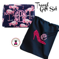 Monogrammed FLAMINGO Travel 2 Piece Gift Set - Navy & Pink Flamingo - FREE SHIP