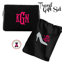 Monogrammed  SPARKLE Travel 2 Piece Gift Set - Black - FREE SHIP