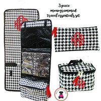 Monogrammed 3 Piece Travel Essentials Set - Black / White Houndstooth - FREE SHIP/ladies' Travel Set/Gift for Her/Bridesmaid Gift/Flower Girl Gift/Dancer Gift/Grad Gift