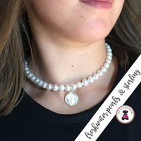 JACQUELINE Choker Necklace  - Freshwater Pearl  Choker Necklace with Monogrammed Sterling Charm - FREE SHIP